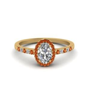 Oval Halo Diamond Delicate Engagement Ring With Orange Sapphire In 14K Yellow Gold