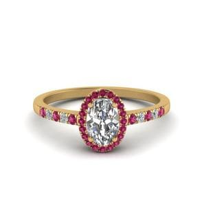 Oval Halo Diamond Delicate Engagement Ring With Pink Sapphire In 14K Yellow Gold