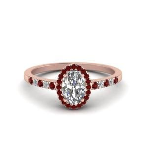 Oval Halo Diamond Delicate Engagement Ring With Ruby In 18K Rose Gold