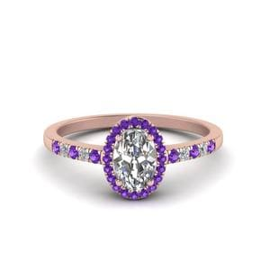 Oval Halo Diamond Delicate Engagement Ring With Violac Topaz In 14K Rose Gold