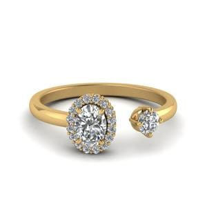 Oval Halo Diamond Open Ring
