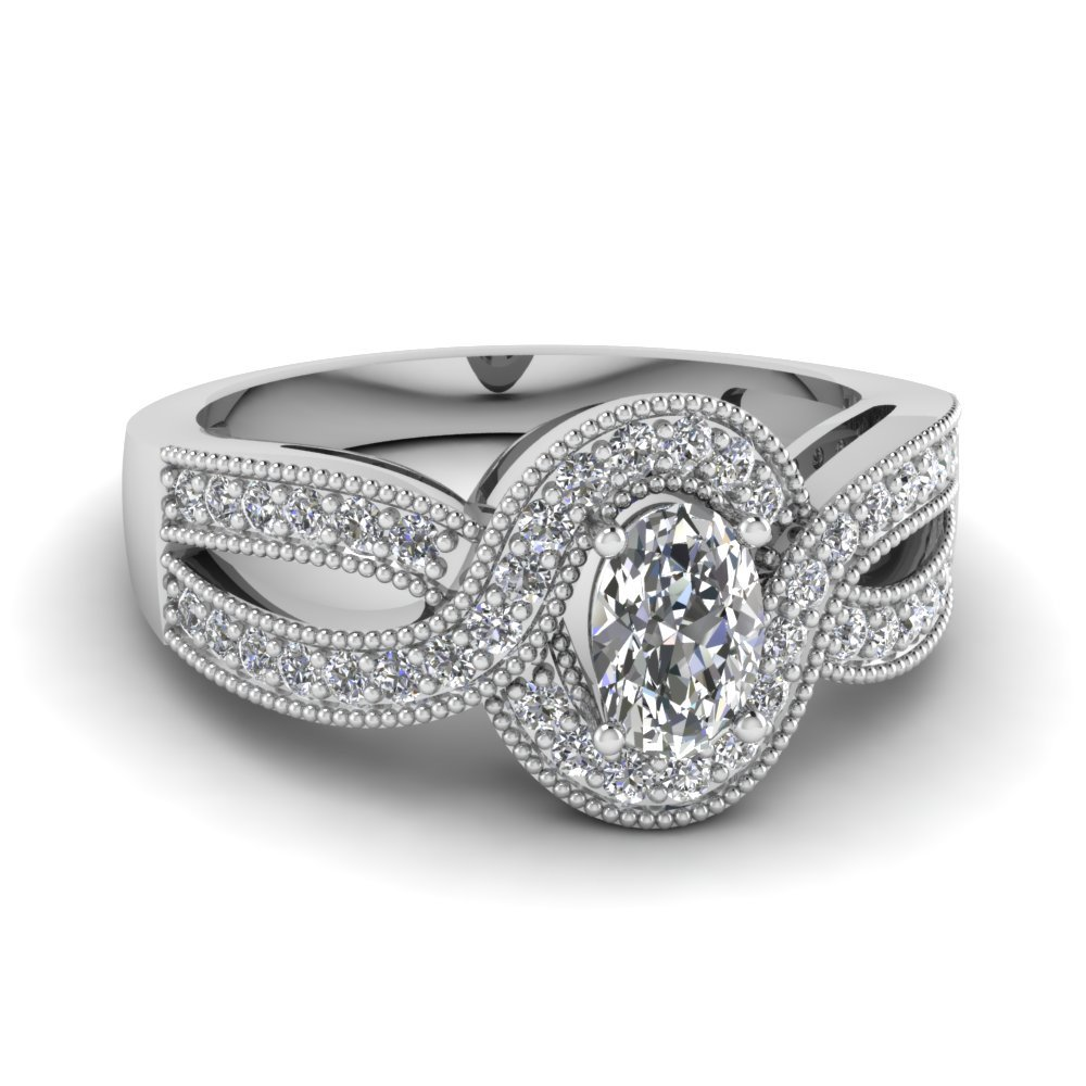 Milgrain Oval Halo Infinity Diamond Ring