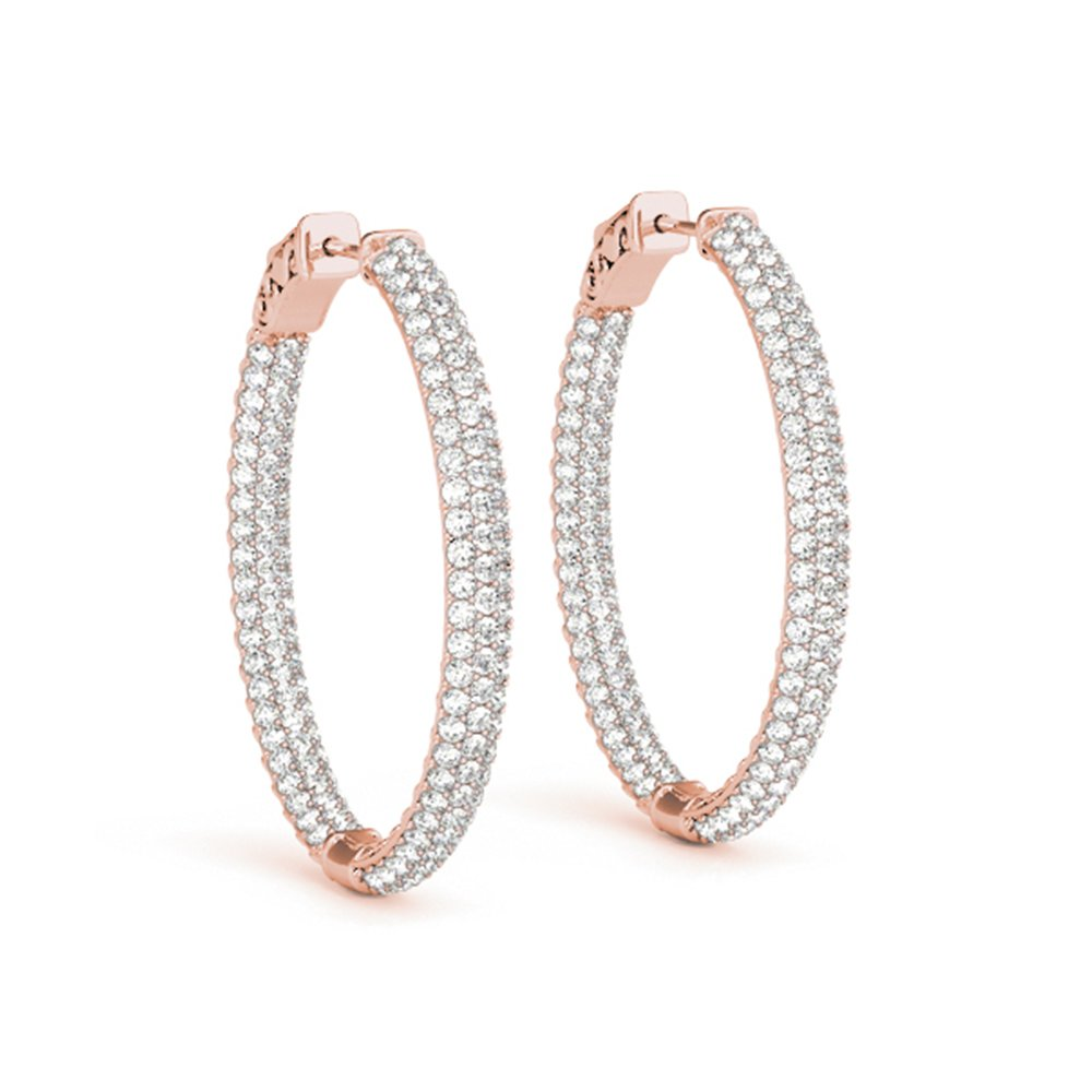 Oval Inside Out Diamond Hoop Earring
