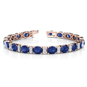 Oval Sapphire With Diamonds Bracelet