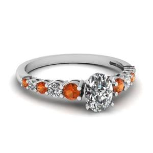 Graduated Oval Diamond Ring With Orange Sapphire In 18K White Gold