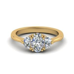 Half Moon 3 Oval Diamond Engagement Ring In 14K Yellow Gold