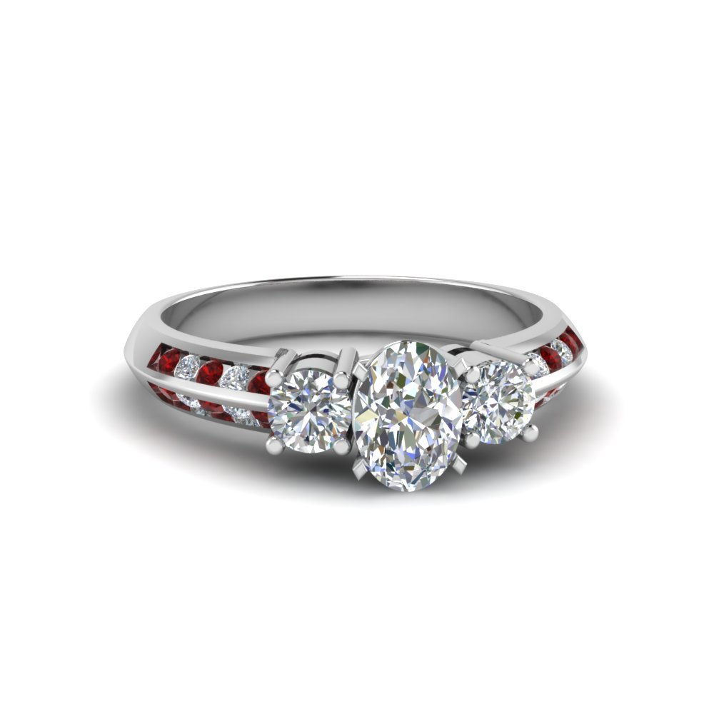 Ruby 3 Stone Diamond Ring