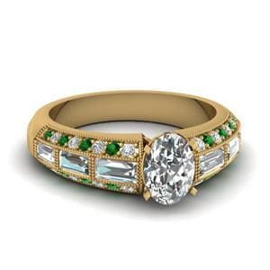 Antique Baguette Oval Diamond Engagement Ring With Emerald In 18K Yellow Gold