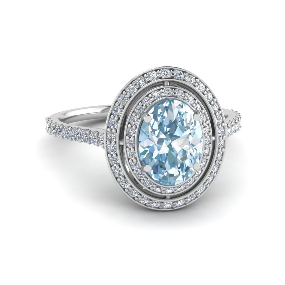 Classic Double Halo Aquamarine Ring