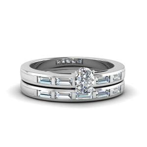 Oval Shaped Bar Baguette Diamond Simple Wedding Ring Set In 950 Platinum