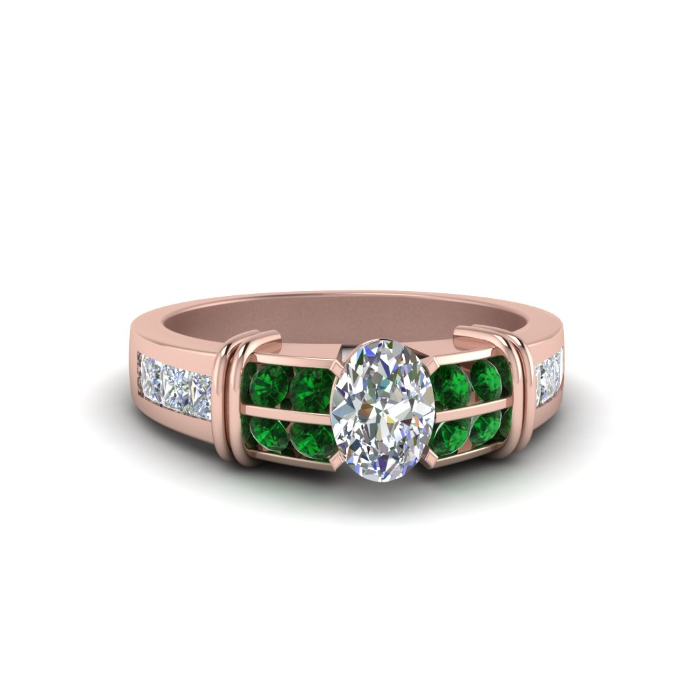 Oval Shaped Bar Channel Set Wide Diamond Ring With Emerald In 18K Rose Gold