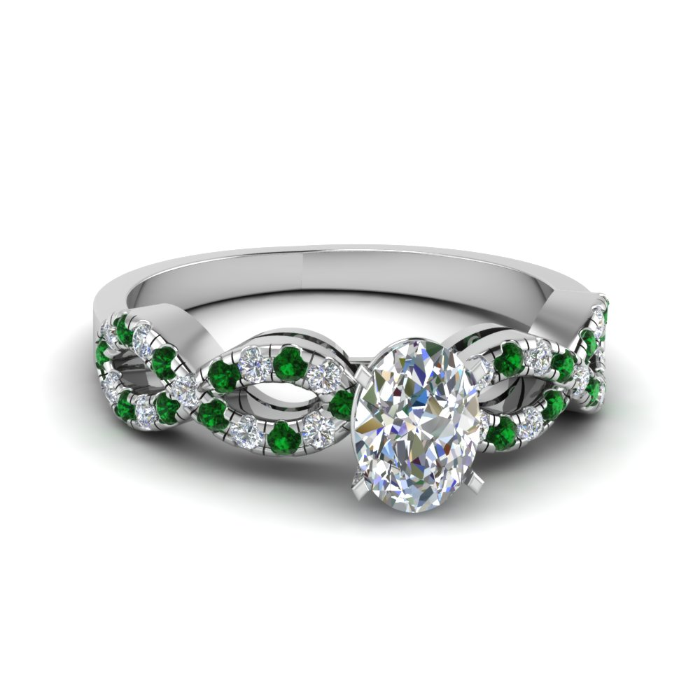 Oval Shaped Braided Diamond Engagement Ring With Emerald In 18K White Gold