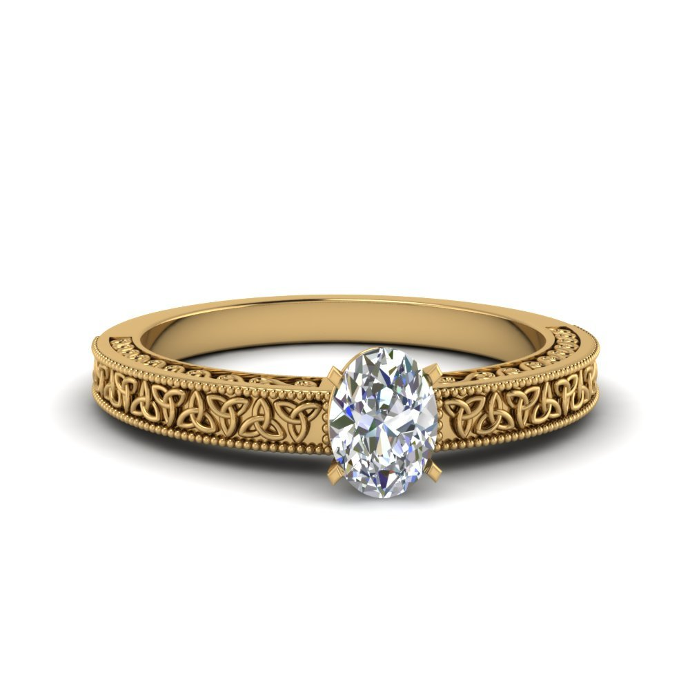 Oval Shaped Celtic Engraved Solitaire Ring In 18K Yellow Gold