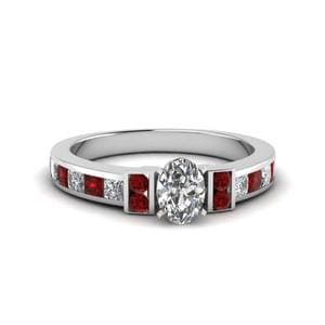 Oval Shaped Channel Bar Set Diamond Engagement Ring For Women With Ruby In 18K White Gold