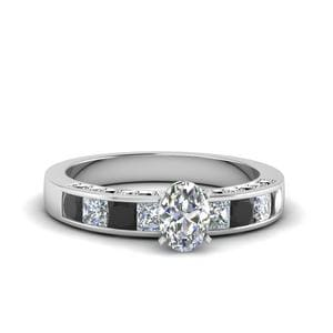 Oval Shaped Channel Engagement Ring With Black Diamond In 14K White Gold