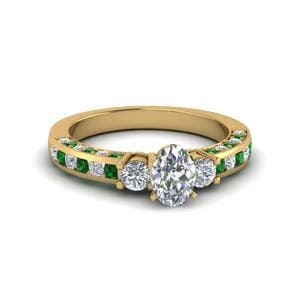 Emerald 3 Stone Diamond Ring