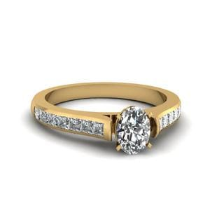 Oval Shaped Cathedral Channel Set Diamond Engagement Ring In 18K Yellow Gold