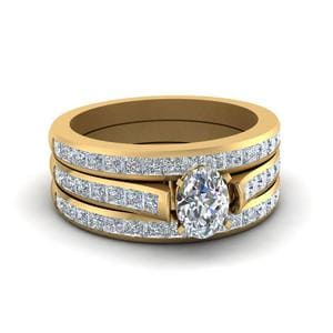 Channel Set Trio Wedding Ring Set