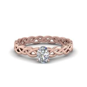 Oval Shaped Diamond Braided Solitaire Engagement Ring In 18K Rose Gold