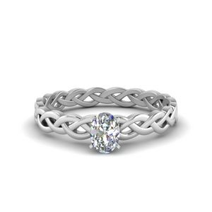 Oval Shaped Diamond Braided Solitaire Engagement Ring In 18K White Gold
