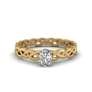 Oval Shaped Diamond Braided Solitaire Engagement Ring In 14K Yellow Gold