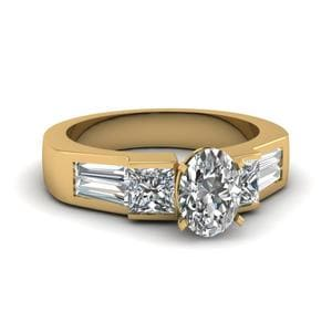 Art Deco Oval Diamond Engagement Ring In 18K Yellow Gold
