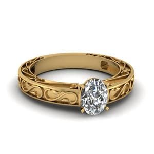 Carved Oval Diamond Solitaire Engagement Ring In 18K Yellow Gold