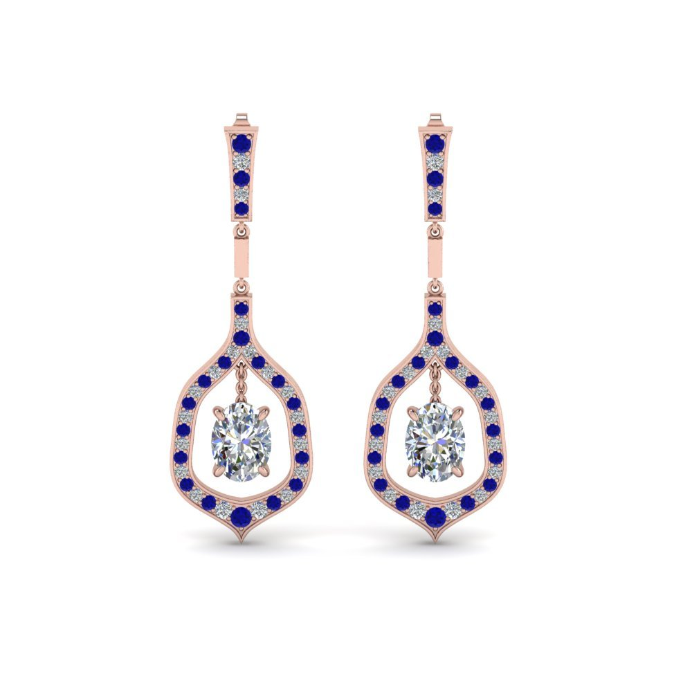 Oval Shaped Diamond Drop Hanging Earring