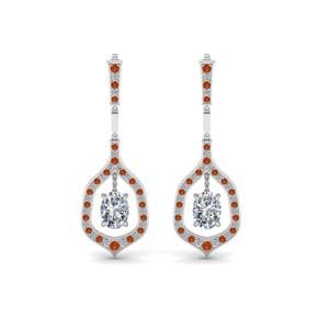 Oval Shaped Diamond Drop Hanging Earring With Orange Sapphire In 14K White Gold