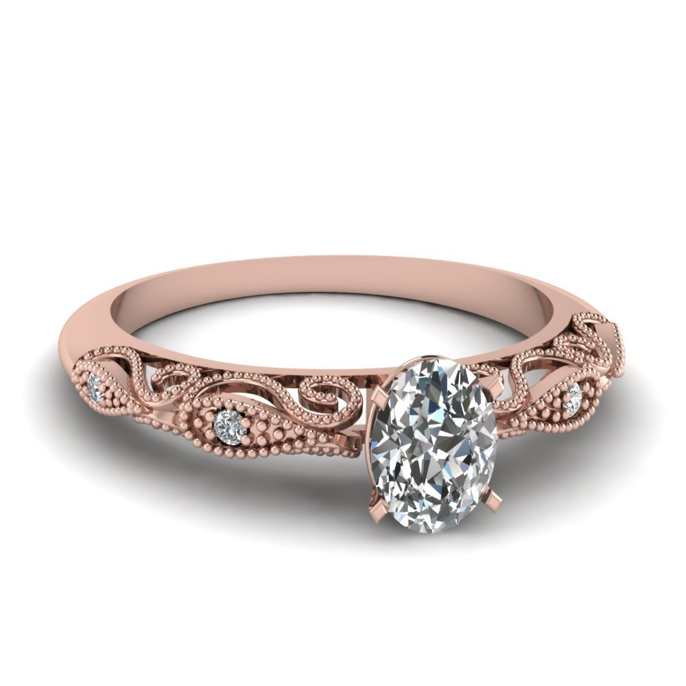 Oval Shaped Paisley Diamond Ring In 14K Rose Gold