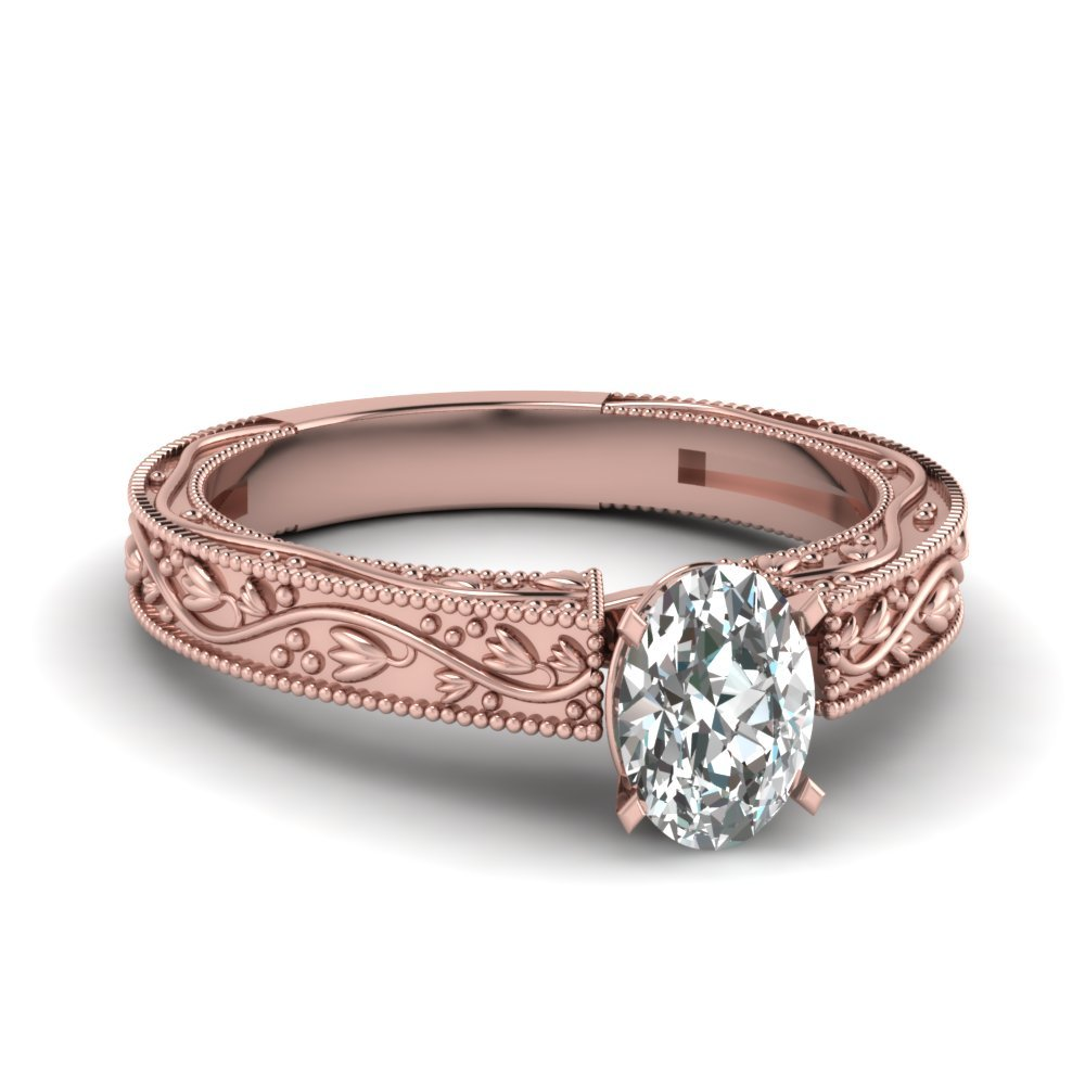 Floral Engraved Oval Shaped Diamond Solitaire Engagement Ring In 14K Rose Gold