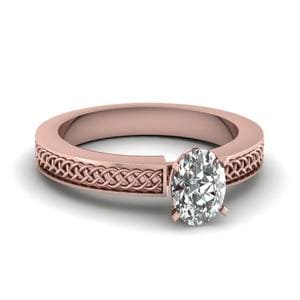 Weaved Design Oval Shaped Solitaire Engagement Ring In 14K Rose Gold