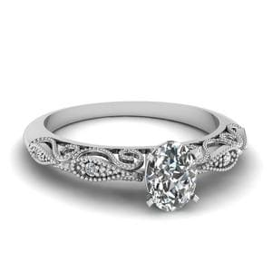 Oval Shaped Paisley Diamond Ring In 14K White Gold