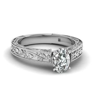 Floral Engraved Oval Shaped Diamond Solitaire Engagement Ring In 14K White Gold