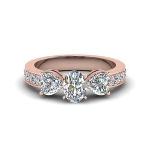 Oval Shaped Pave 3 Stone Diamond Engagement Ring In 18K Rose Gold