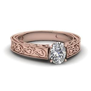 Vintage Oval Solitaire Diamond Ring In 18K Rose Gold