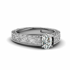 Oval Diamond Floral Style Ring