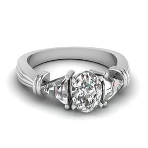Trillion 3 Stone Oval Diamond Engagement Ring In 18K White Gold
