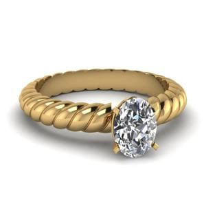 Rope Pattern Oval Diamond Ring