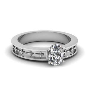 Cross Engraved Oval Shaped Solitaire Engagement Ring In 950 Platinum