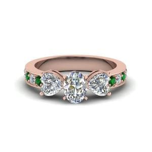 Pave Three Stone Emerald Ring
