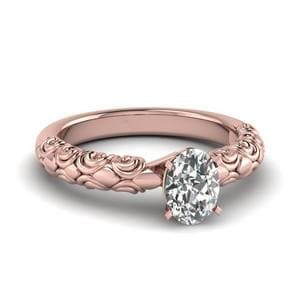 Oval Shaped Diamond Filigree Accent Solitaire Engagement Ring In 18K Rose Gold