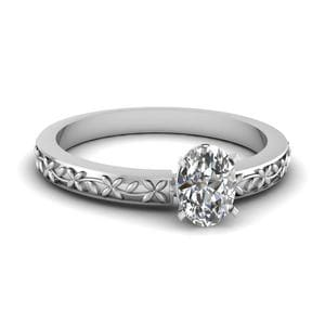 Floral Engraved Oval Diamond Solitaire Ring In 18K White Gold