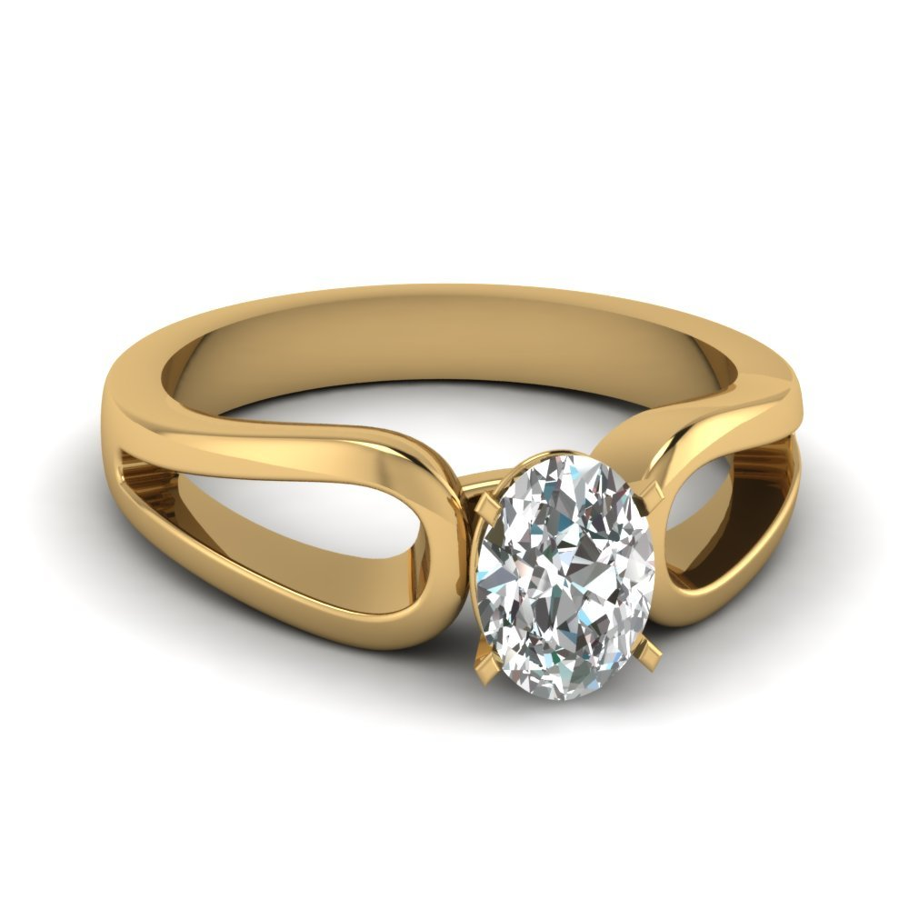 Oval Shaped Diamond Loop Duet Soltaire Ring In 18K Yellow Gold