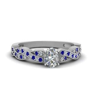 Twisted Pave Sapphire Ring