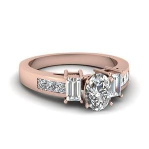 Side Stone Rose Gold Diamond Ring