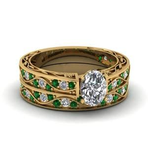 Antique Emerald Bridal Ring Set