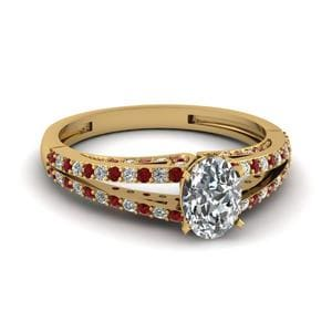 Gold Split Shank Ruby Ring