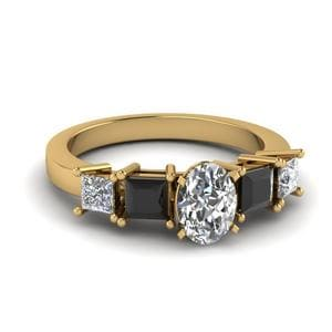 Black Diamond Side Stone Ring