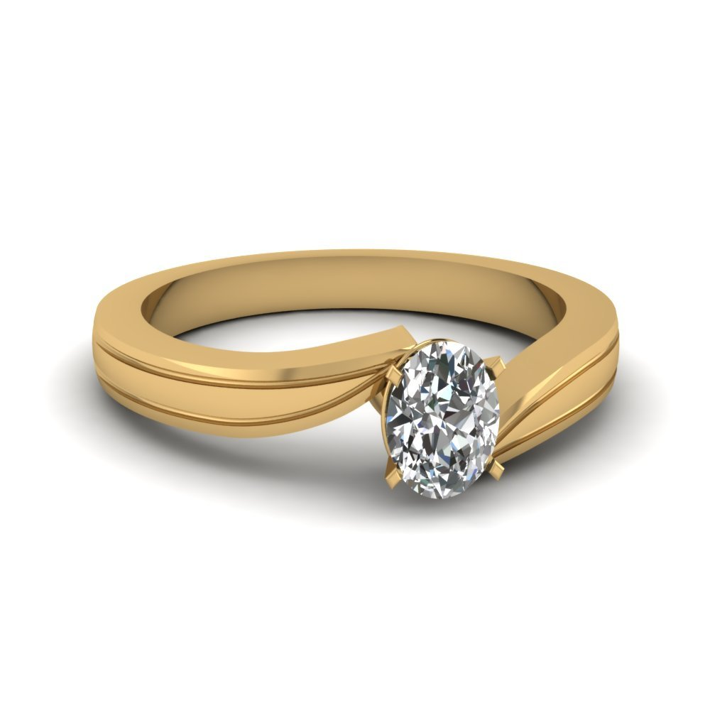 Oval Shaped Diamond Twisted Solitaire Engagement Ring In 18K Yellow Gold